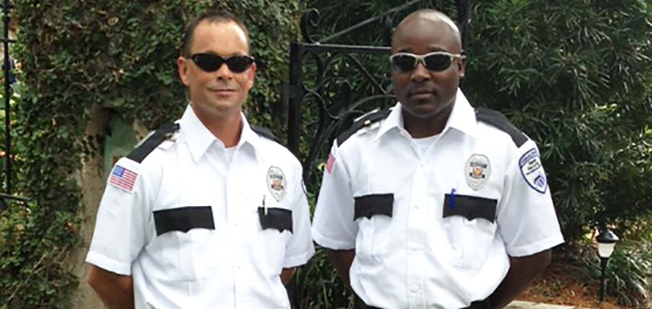 Two of Bales Security's finest officers on post at a location in Clearwater, FL.